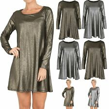 Ladies Metallic Silver Gold Party Womens Swing Evening Wear Baggy Mini Dress