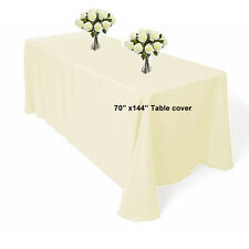 """70"""" x 144"""" polyester Ivory Rectangle Table cloth For Wedding Banquet Table cover"""