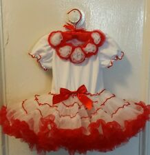 Popatu Girls Red White Ruffle Tutu Petti Dress Birthday,Holiday 18 & 24 mnth NWT