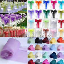 Organza Sashes Chair Cover Sash Bowknot Wedding Party Reception Banquet Decor
