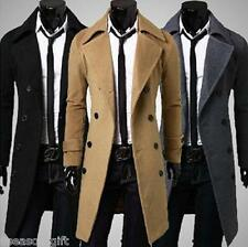 2017 NEW Autumn Winter Mens Slim Stylish Trench Coat Double Breasted Long Jacket