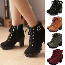 2017 Womens High Heel Lace Up Ankle Boots Ladies Zipper Buckle Platform Shoes