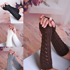Women Lady Girls Arm Warmer Long Fingerless Knit Mitten Winter Gloves 1 Pairs p5