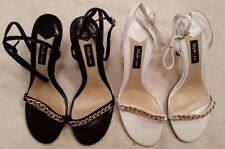 """NEW Style & Co. """"Zeta"""" Leather Strappy Sandal w Gold Chain Size 8M"""
