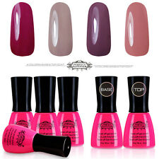 6x Gel Nail Polish Set Base Top Coat Soak off Gel Nail Art Lacquer UV Gel 8ml