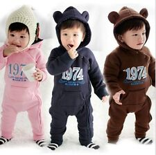 Kids Baby Boy Girl Warm Infant Romper Jumpsuit Bodysuit Hooded Clothes Outfit