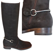 sz 36.5 37.5 38 NEW $1295 GUCCI Brown Leather Suede HORSEBIT TALL RIDING BOOTS