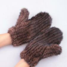 Unisex Real Genuine Mink Fur Knitted Warm Gloves Mittens Top Great Elastic Net