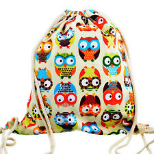 Travel Canvas Owl String Drawstring Backpack Cinch Sack Sling Bag Gym Tote ZO