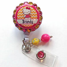 PERSONALIZED HELLO KITTY SUMMER BLING RETRACTABLE ID BADGE HOLDER LANYARD