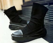 Mens stylish Ankle Boots Creepers Round Hip Hop dance Retro wedge Heel zip Shoes