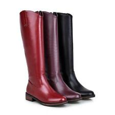 Womens Knee High Boots Low Heels zip up high top Riding Casaul Shoes Plus Size