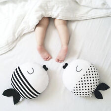 New Simple Black And White Fish Pillow Kiss Fish Polka Dot Cushion Doll lot DP