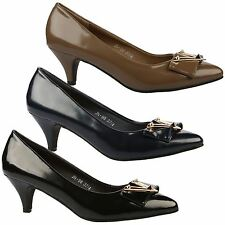 Angela Womens Mid Kitten Heels Pointed Toe Court Shoes Ladies Studded Pumps Size