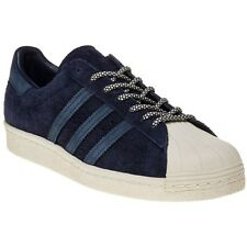 New Mens adidas Blue Superstar 80's Suede Trainers Court Lace Up