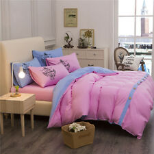 Pink King Single Double Size Quilt Doona Duvet Cover Sets Bed Pillowcases Girls