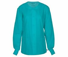 Cherokee Workwear Scrub Unisex Snap Front Jacket 34350A TLBW Teal Free Shipping