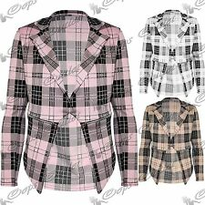 New Womens Casual Tartan Long Sleeves Jacket Zip Up Waterfall Coat Blazer Top
