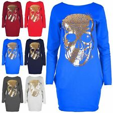 New Ladies Womens Skull Gold Foil Side Pockets Tulip Tunic Jumper Mini Dress Top