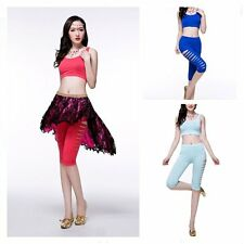 Belly Dance Costume Set Cotton Tribal Yoga Slim Trousers Pants blouse Bra Tops