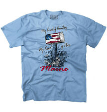 My Country Town Maine USA T Shirt American Flag Vintage Gift T-Shirt Tee