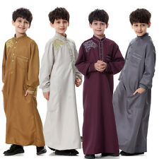 Muslim Boys Kids Dishdasha Jubbah Jubba Arab Kaftan Thobe Islamic Clothing