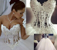 NEW White/ivory Wedding Dress Bridal Ball Gown Stock Size 4-6-8-10-12-14-16-18
