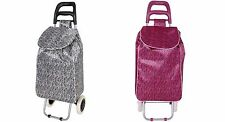 Folding Wheeled Zebra Shopping Trolley Festival Bag Strong Waterproof Light