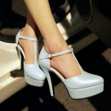 Womens T-strap Pumps Pointed Toe Platform High stiletto Heels dress office Shoes