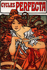 Alphonse Mucha Vintage Cycles Perfecta French Bicycle Poster Art Print A3 A4