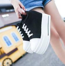 Ladies Womens Lace Up Canvas Platform wedge heel Casual Sneakers Athestic Shoes