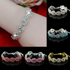 Hot Sale Women Full Crystal Bracelet Infinity Lucky Bangle Chain Cuff Jewelry