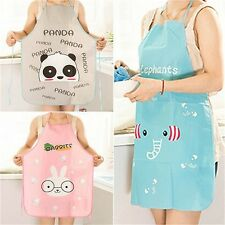 Women Cute Cartoon Waterproof Apron Kitchen Restaurant Cooking Bib Aprons KY