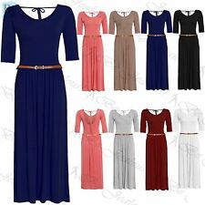 Ladies Swing Ruched 3/4 Sleeve Tie Knot Stretchy Long Womens Plain Maxi Dress