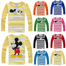 Kids Baby Cartoon Mickey Mouse Long Sleeve T-Shirts Boys Girls Striped Top Shirt