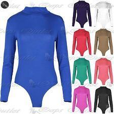 Womens Ladies Polo Turtle Neck Leotard Long Sleeve Stretchy T-Shirt Bodysuit Top