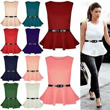 New Womens Ladies Plus Size Peplum Top Sleeveless Belted Frill Skater Mini Dress