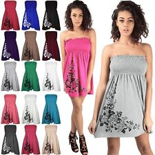 Womens Ladies Diamantes Floral Roses Sheering Swing Bandeau Boobtube Dress Top