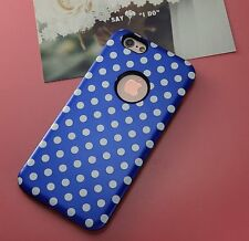 Blue Skin Soft TPU Rubber Polka-dot Accurate Hole Case Cover For iPhone 6 6S