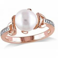 Miabella 8-8.5mm White Round Cultured Freshwater Pearl and Diamond Accent Rose R