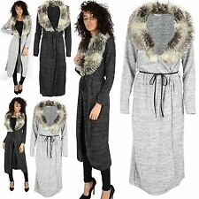 Womens Knitted Faux Fur Collar Cape Cardigan Ladies Long Open Belted Duster Coat