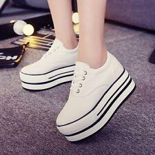 Womens girls Canvas Lace Up Platform Plimsole Sneakers Trainers casual Shoes