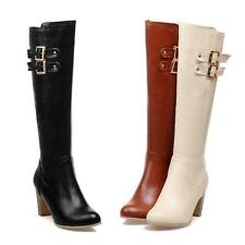 womens block chunky heel winter riding zip up buckle knee high boots shoes