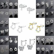 Fashion Genuine 925 Sterling Silver Ear Stud CZ Earrings Dangle Women Jewelry