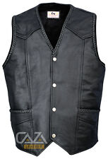 MOTORCYCLE BIKER STYLE WAISTCOAT VINTAGE BLACK GENUINE LEATHER BRAIDED VEST