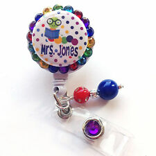 PERSONALIZED COLORFUL CATERPILLAR BLING RETRACTABLE ID BADGE HOLDER LANYARD