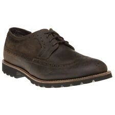 New Mens Rockport Brown Cradyn Leather Shoes Brogue Lace Up