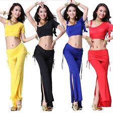 Professional Belly Dance Costume Tribal Bra Top + Pants + Tassel Hip Scarf Belt