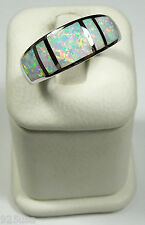 White Fire Opal Inlay Solid 925 Sterling Silver Men's, Woman's Band Ring Sz 9