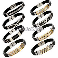 Men's Punk Stainless Steel Chain Wristband Clasp Cuff Bangle Bracelet19 Styles